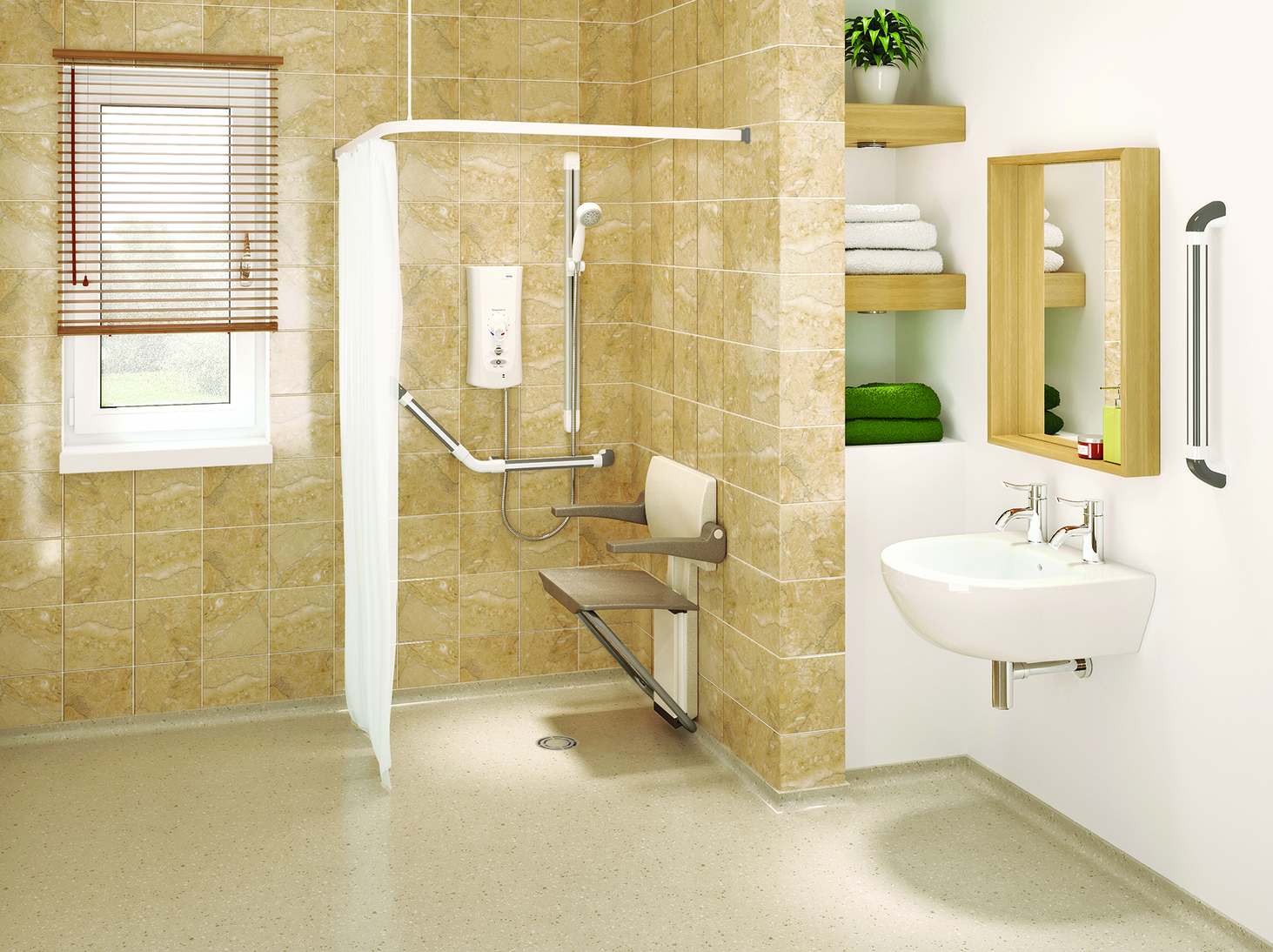 Easy access walk in shower room